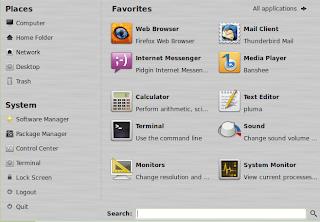 Linux Mint menu