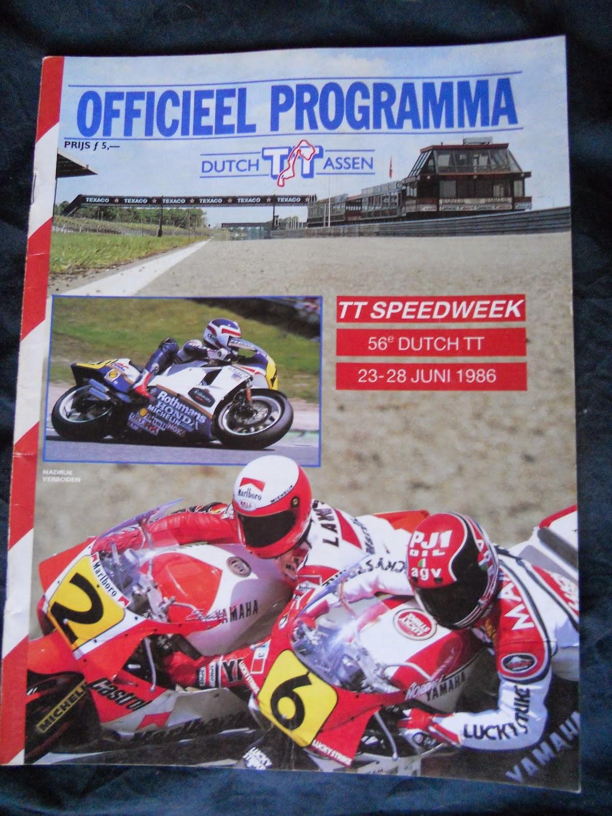 programa de carreras del GP Holanda en Assen 1986
