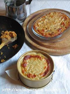 aglio, cipolle, lenticchie, lenticchie rosse, mozzarella vegan, paprika, patate, patate viola, Piatti unici, ricette vegan, sformatino, sformato,