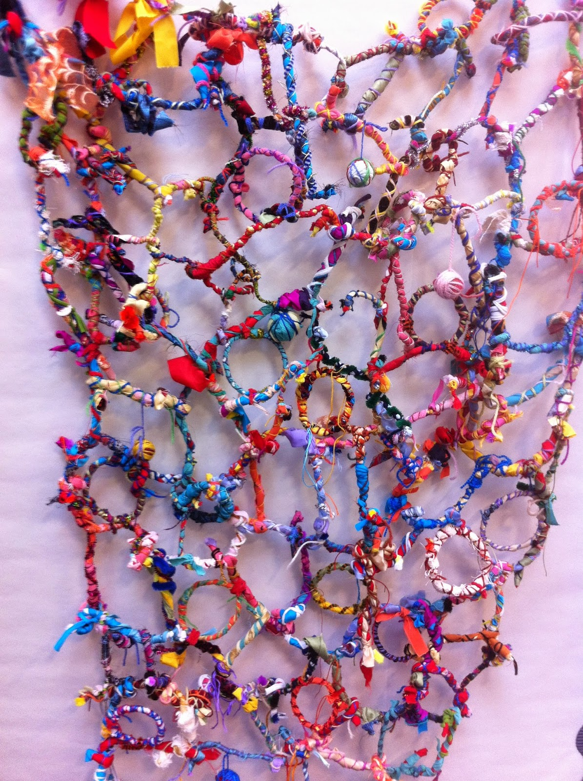 Kindergarten Project ... the finished hanging, made from pipe cleaners, fabric, thread