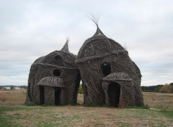 "Stick sculpture by Patrick Dougherty called ""Lean On Me"""