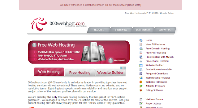 000webhost homepage including post about database hack