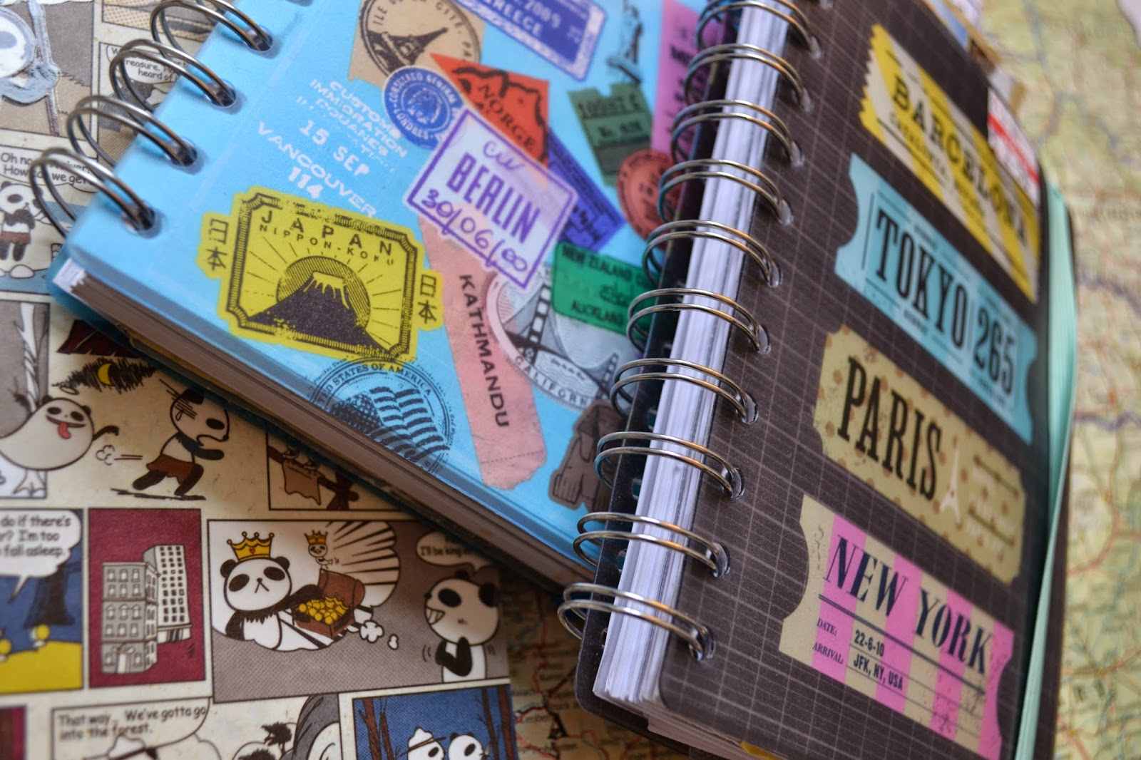 Stack of travel journals