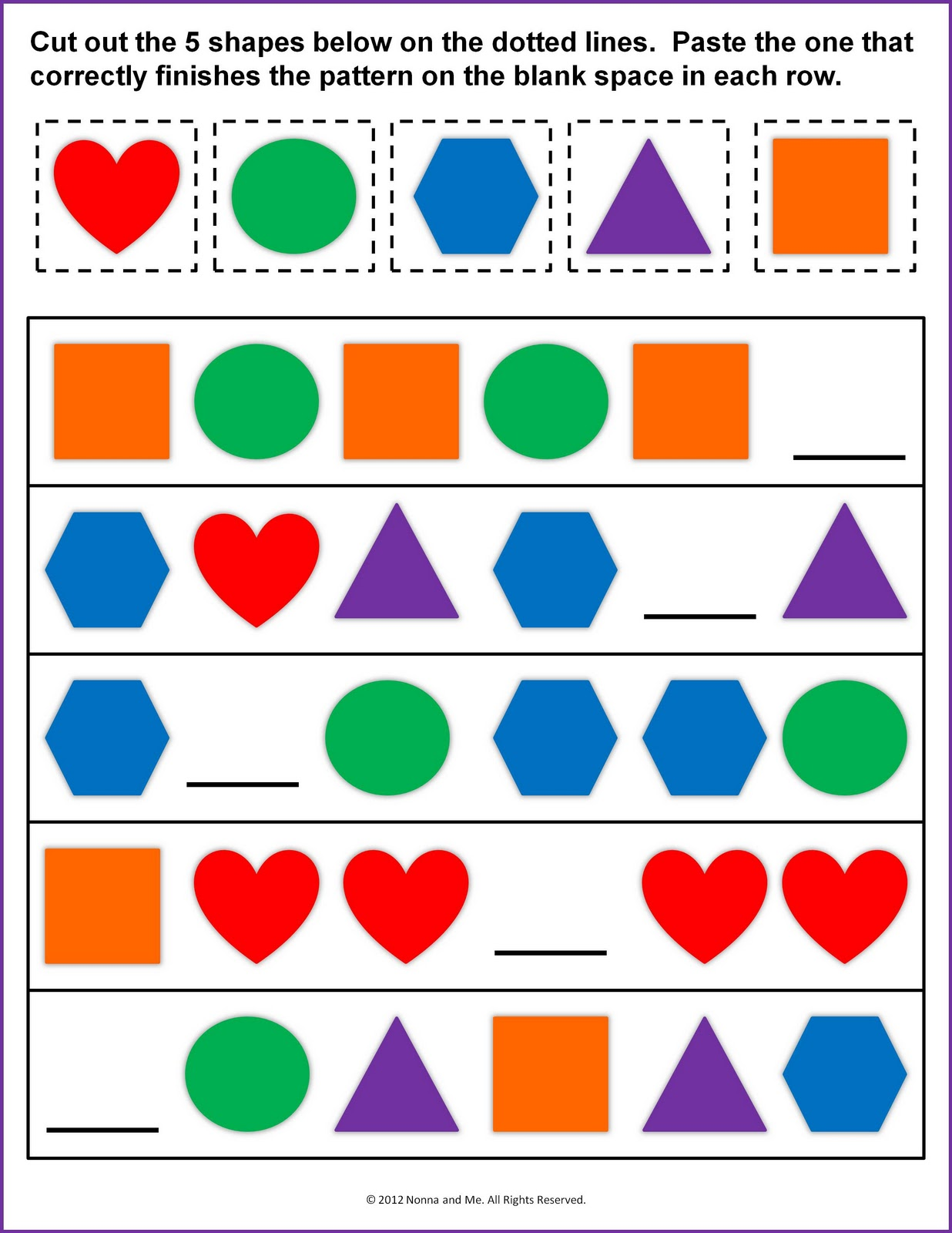 Worksheets Shape Pattern Worksheets nonna and me identifying patterns patterns