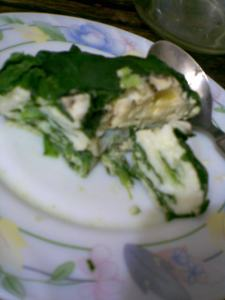 poached eggs in spinach blanket ....n how i planted the garlic pods..