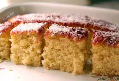 jam and coconut sponge cake