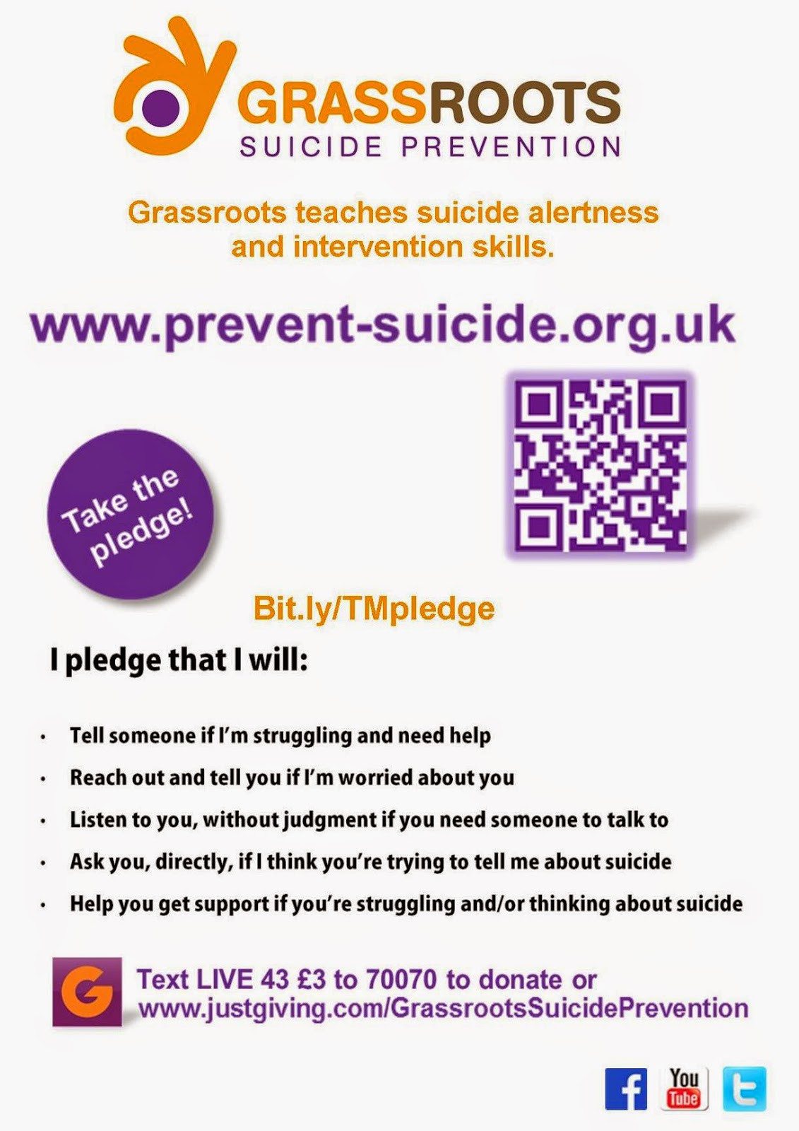 grassroots suicide prevention be a tell me pledge ambassador one in twenty of us or 5% will consider suicide in any two week period we want for each person in brighton hove who thinks about suicide to know that
