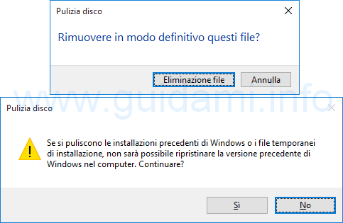 Windows 10 confermare pulizia file di sistema