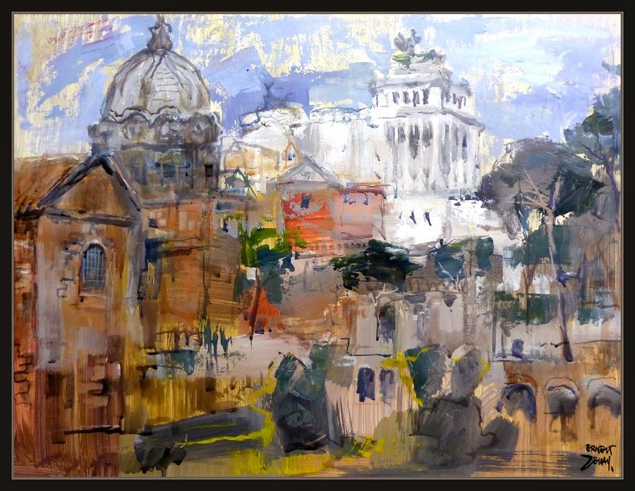 ROMA-FORO-PINTURA-MONUMENTOS-CUADROS-PAISAJES-PINTOR-ERNEST DESCALS-