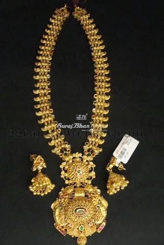 huge gold long set by surajbhan jewellery designs