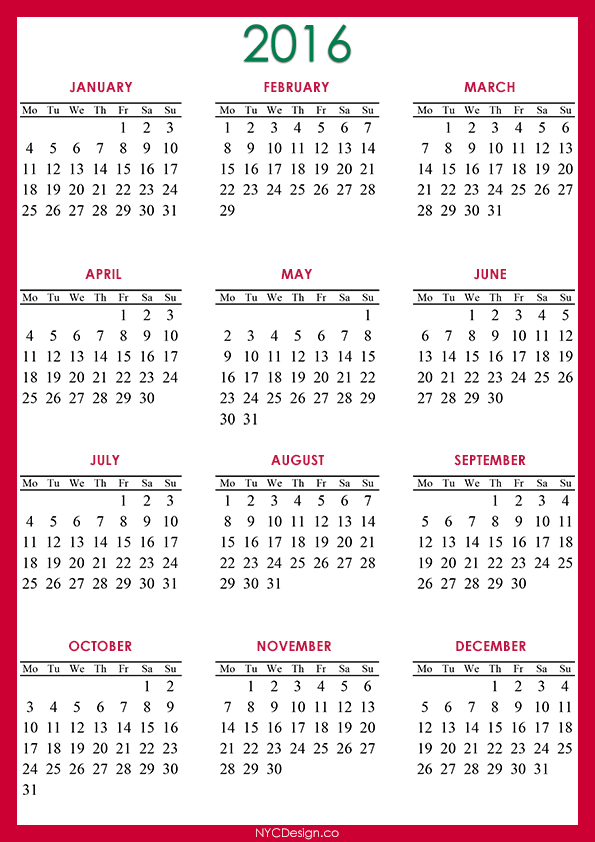 ... Calendar Printable - A4 Paper Size - Free - Red, Green, Blue, White