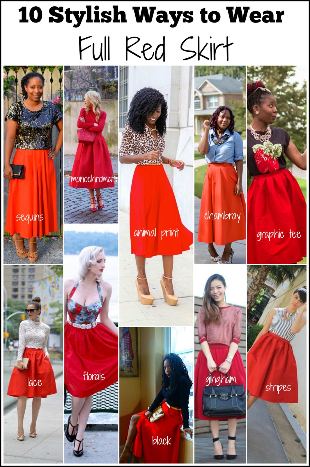 stylish full red skirt pinterest