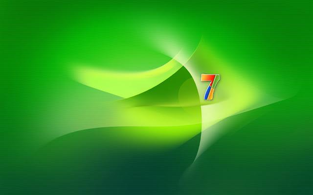 Groene Windows 7 wallpaper met logo in verschillende kleuren