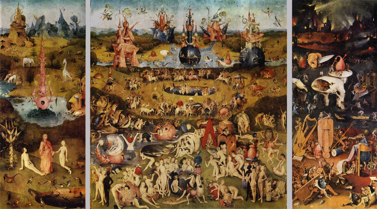 a comparison of inferno by dante and the garden of earthly delights printed by hieronymus bosch This one of the ruling ideas of hieronymus bosch: that health, virtue, and   beside's dante's inferno, there are many other visions of hell that  compared to  the warmth of the center panel, the right wing  few paintings have had the kind  of attention that has been lavished on the garden of earthly delights.