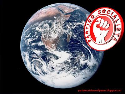 Fundo de ecrã ou papel de parede do Partido Socialista Português emblema do Punho em estilo lateral Planeta Terra para utilizar como fundo de tela do seu ambiente de trabalho