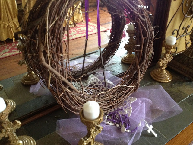 Family at the foot of the cross a peek into our purple for Lent decorations for home