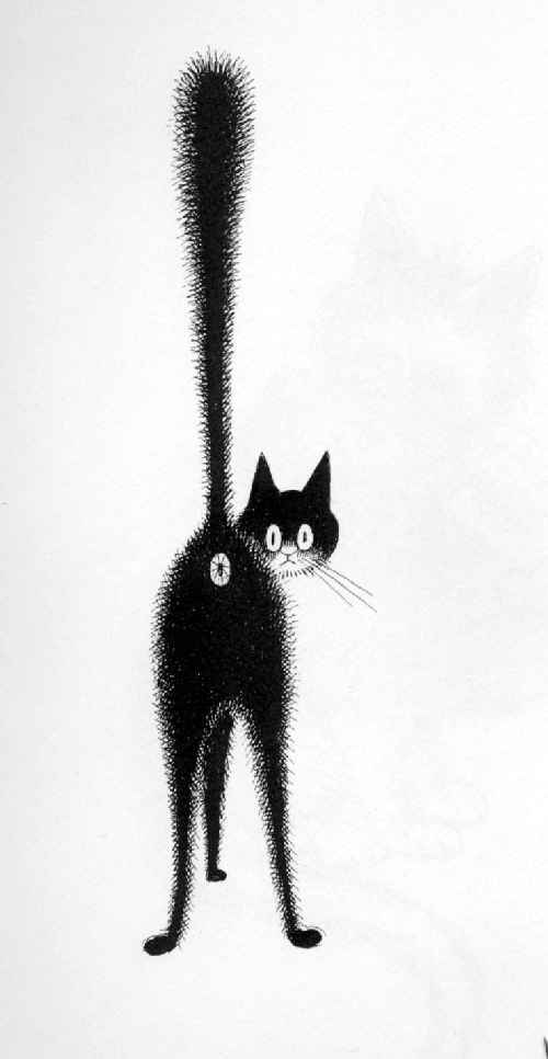 Grains d 39 encre alors le chat - Dessins de chats rigolos ...