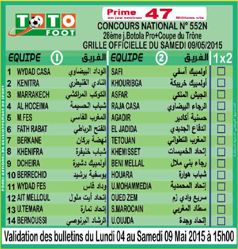 TOTO FOOT COUNCOURS NATIONAL N 552N