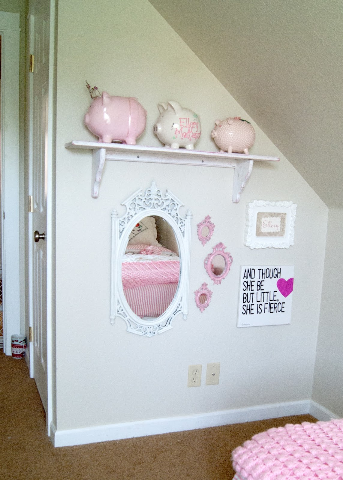 Gallery wall - Pigs, mirrors and quotes
