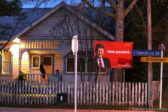 David Cunliffe, leader of the New Zealand Labour Party, on an election billboard in Townshend St, Hastings photograph