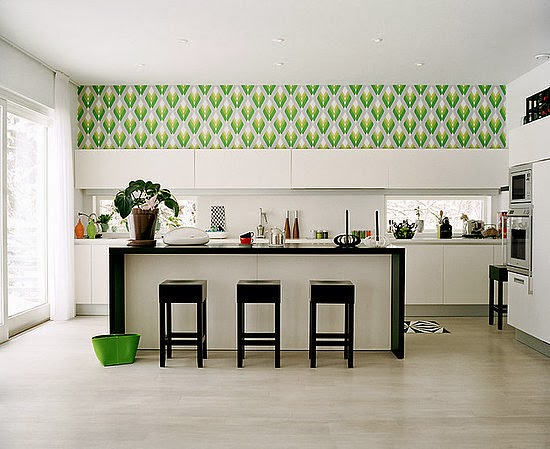 kitchen decorating ideas, vinyl wallpaper for kitchen wall protection