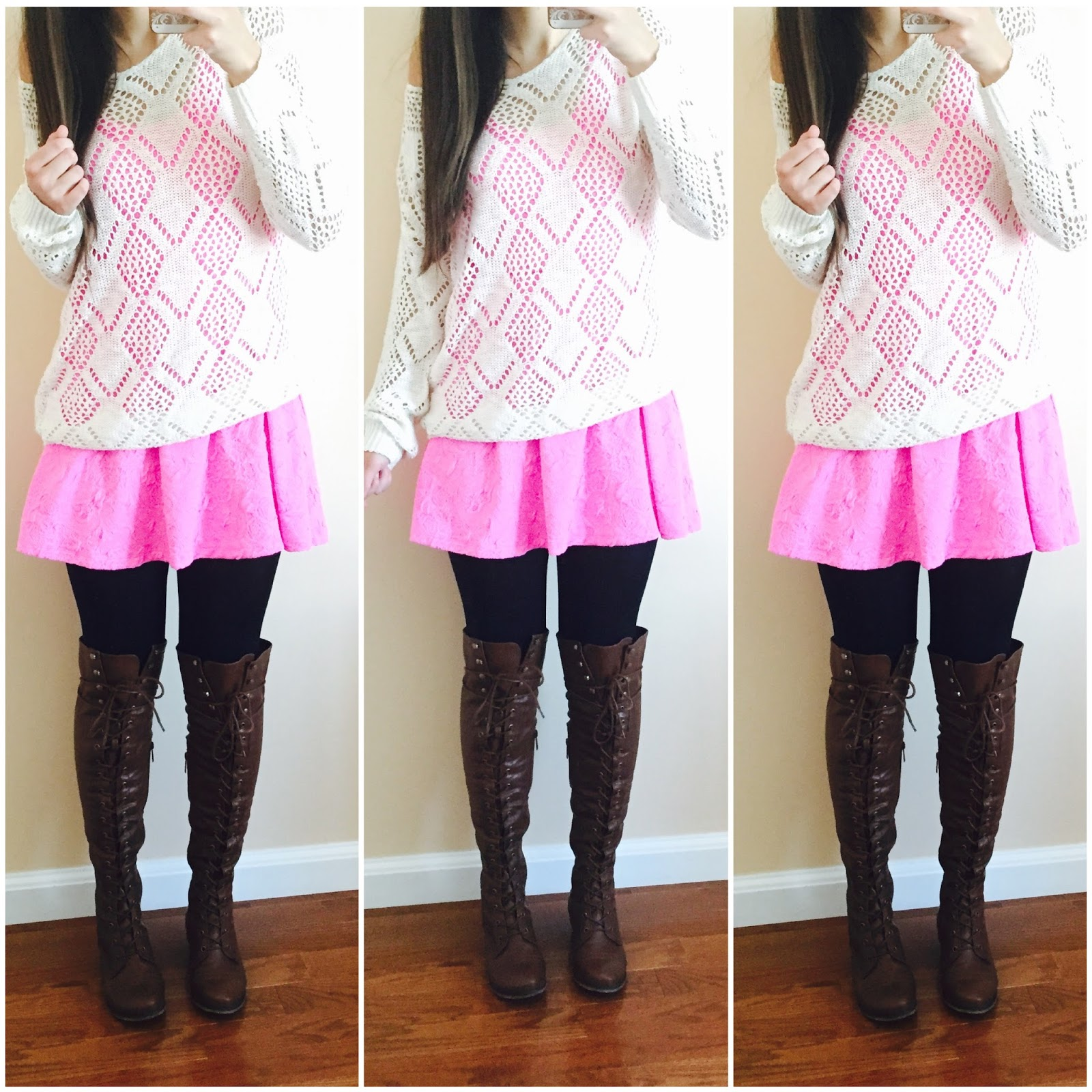 20 ways to style a pink dress, pink blush, pink dress with a sweater over it, knit sweater, brown over the knee boots, amiclubwear, fall outfit, how to style a dress for fall with boots,