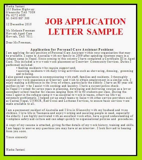 Free Example For Job Application Letter