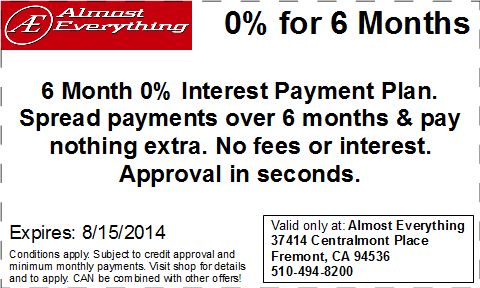 Coupon Almost Everything 6 Month Interest Free Payment Plan July 2014