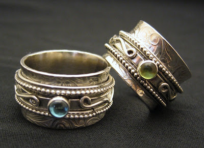 Harmony Twiddle Spinner Ring with Gem Stones by KBerlin