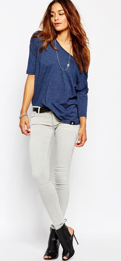 Tee-shirt femme manches longues G-Star bleu
