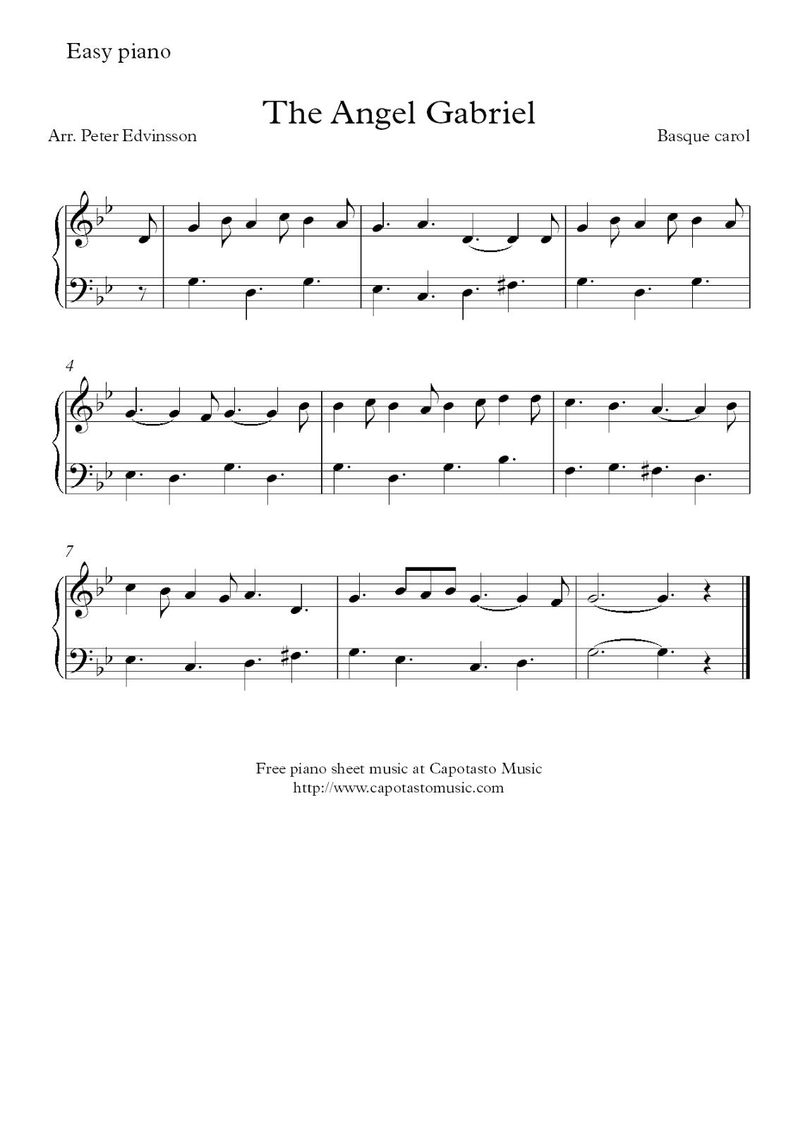 Free Christmas piano sheet music score, The Angel Gabriel