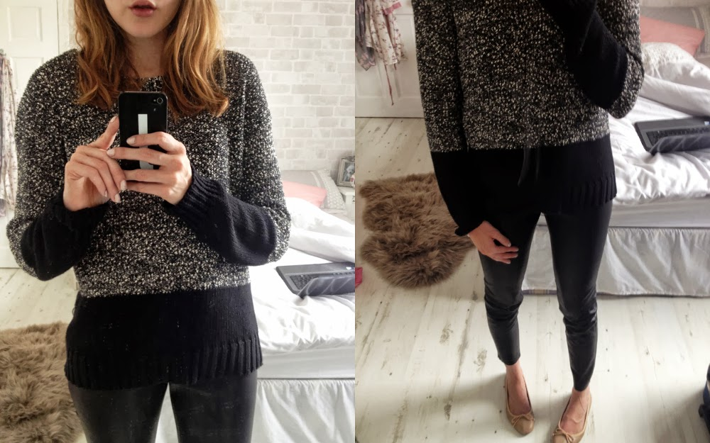 french connection speckled jumper, leather trousers