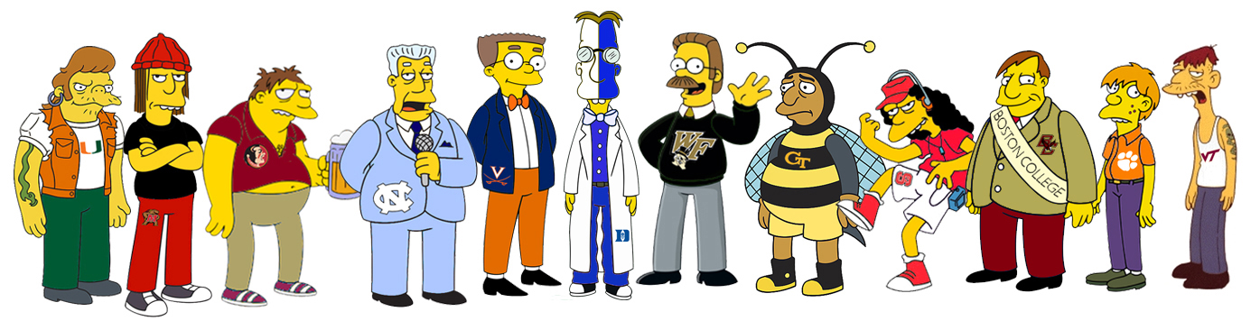 The ACC schools as Simpson characters