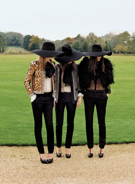 Models in Saint Laurent Paris Spring/Summer 2013 for British Vogue