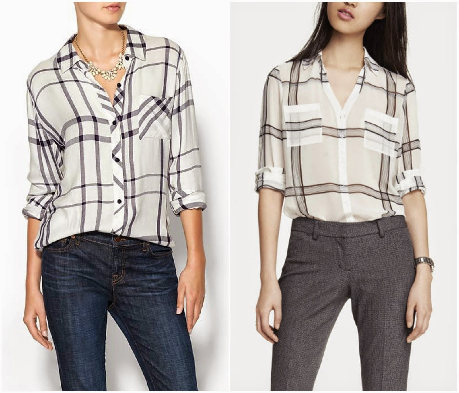 Express Oversized Plaid Portofino vs. Rails Plaid
