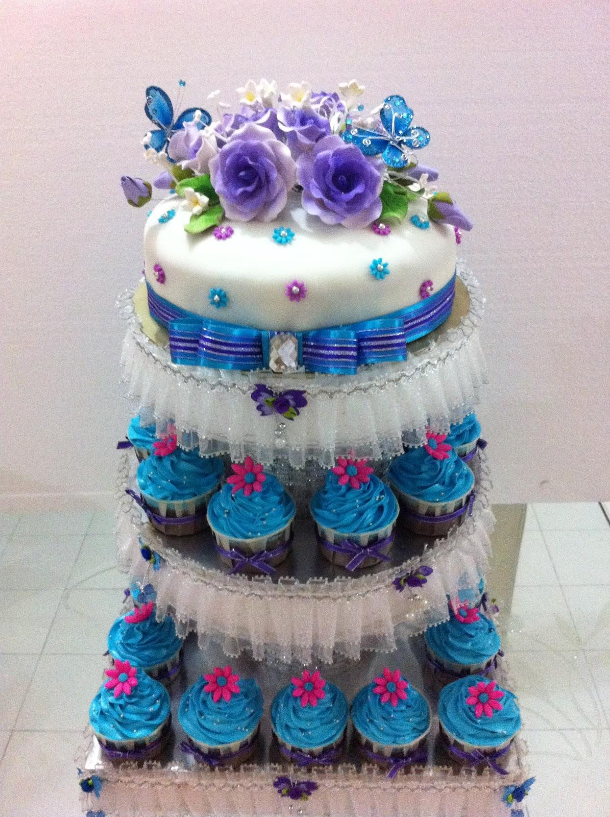 Purple & Blue Fondant Cake