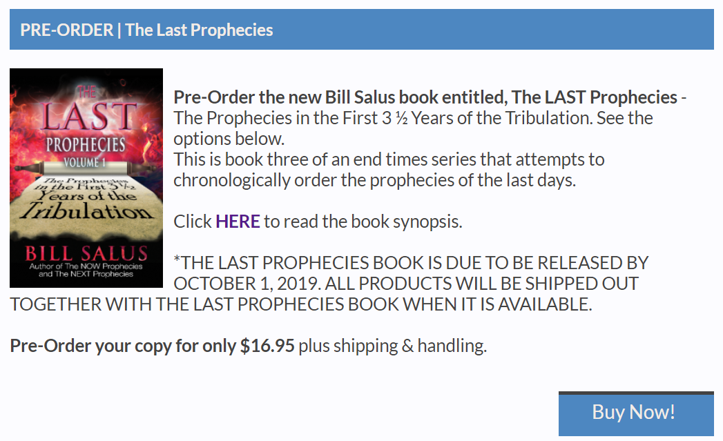 Pre-order a signed copy of The LAST Prophecies Book for $16.95