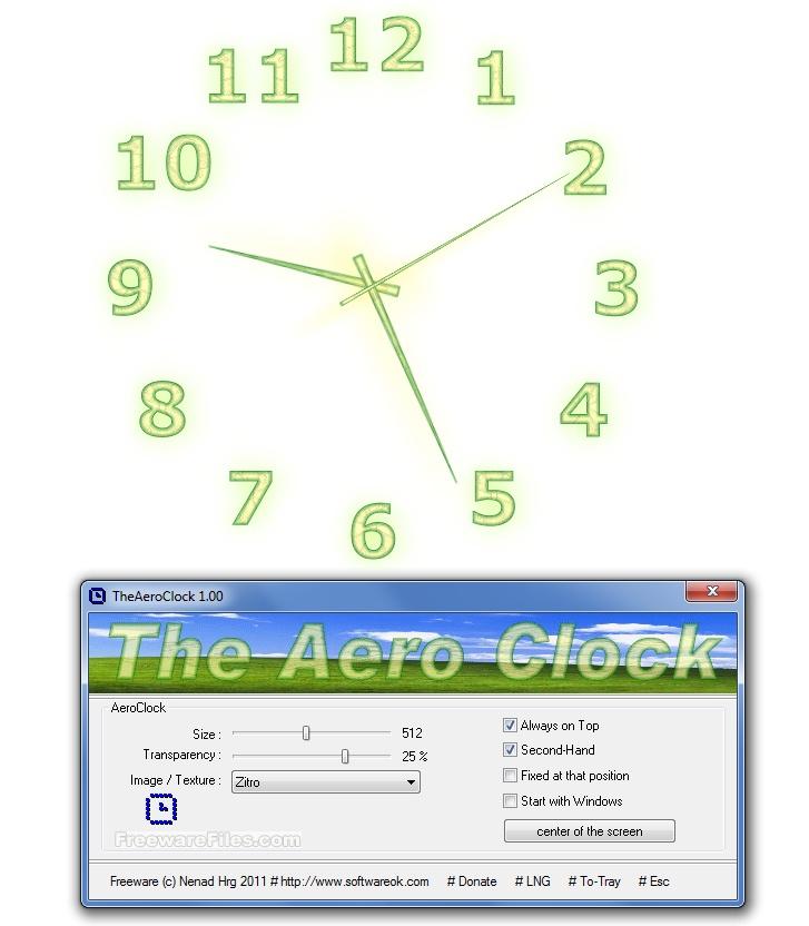 برنامج TheAeroClock 1.33 برنامج ساعة لسطح المكتب جميلة