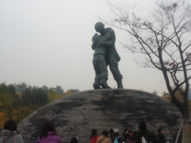 The statute of the long lost brothers in the War memorial of Korea in Seoul