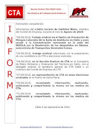 C.T.A. INFORMA CRÉDITO HORARIO CRISTOBAL NIETO, AGOSTO 2018