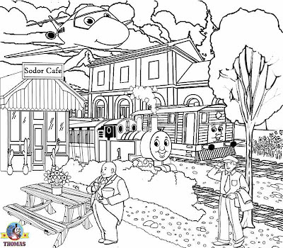 Sodor island cafe cake shop art Tram Toby and Thomas the train printable coloring for old children