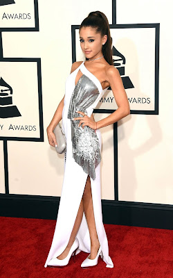 Ariana Grande hot in a sexy white and silver chain metal Versace gown at 2015 Grammy Awards red carpet dress