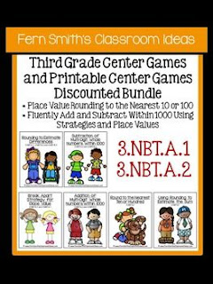 Fern Smith's Classroom Ideas Third Grade Math Unit One Center Games with Common Core at TeacherspayTeachers.