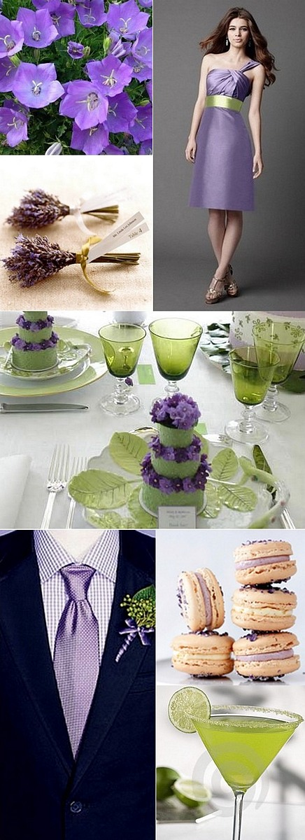 margarita green and bellflower purple wedding inspiration board