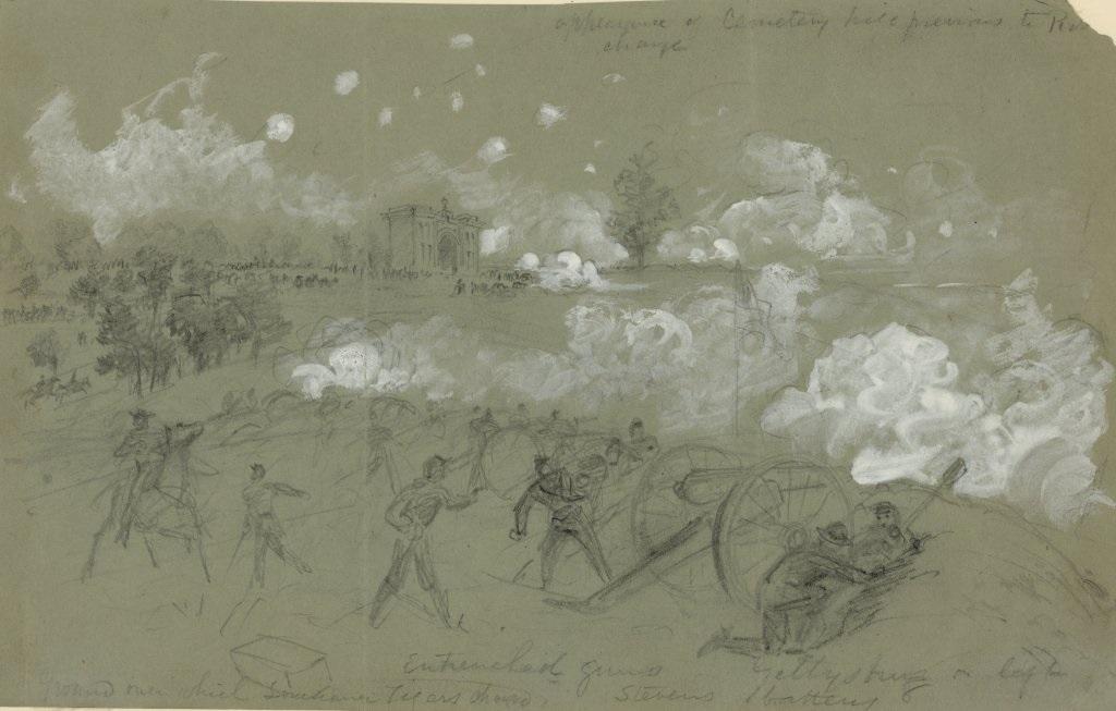 Union artillery on Cemetery Hill