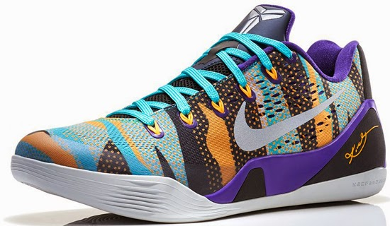 Known as the \u0026quot;Pop Art\u0026quot; edition, this Nike Kobe 9 EM comes in a court purple, reflective silver, atomic mango and sport turquoise colorway.