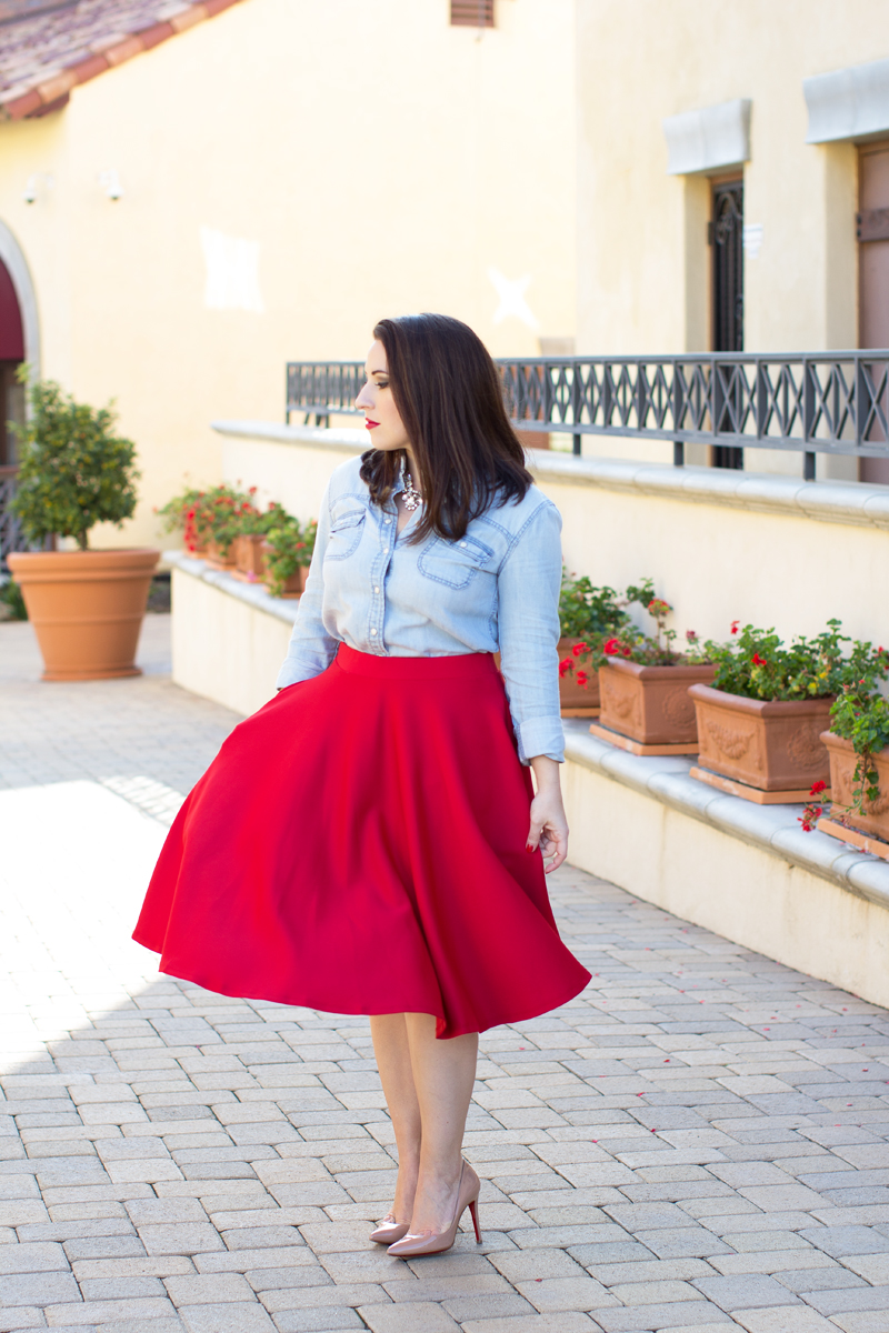 denim shirt, red full skirt, christian louboutin pigalle pumps, chanel red lipgloss