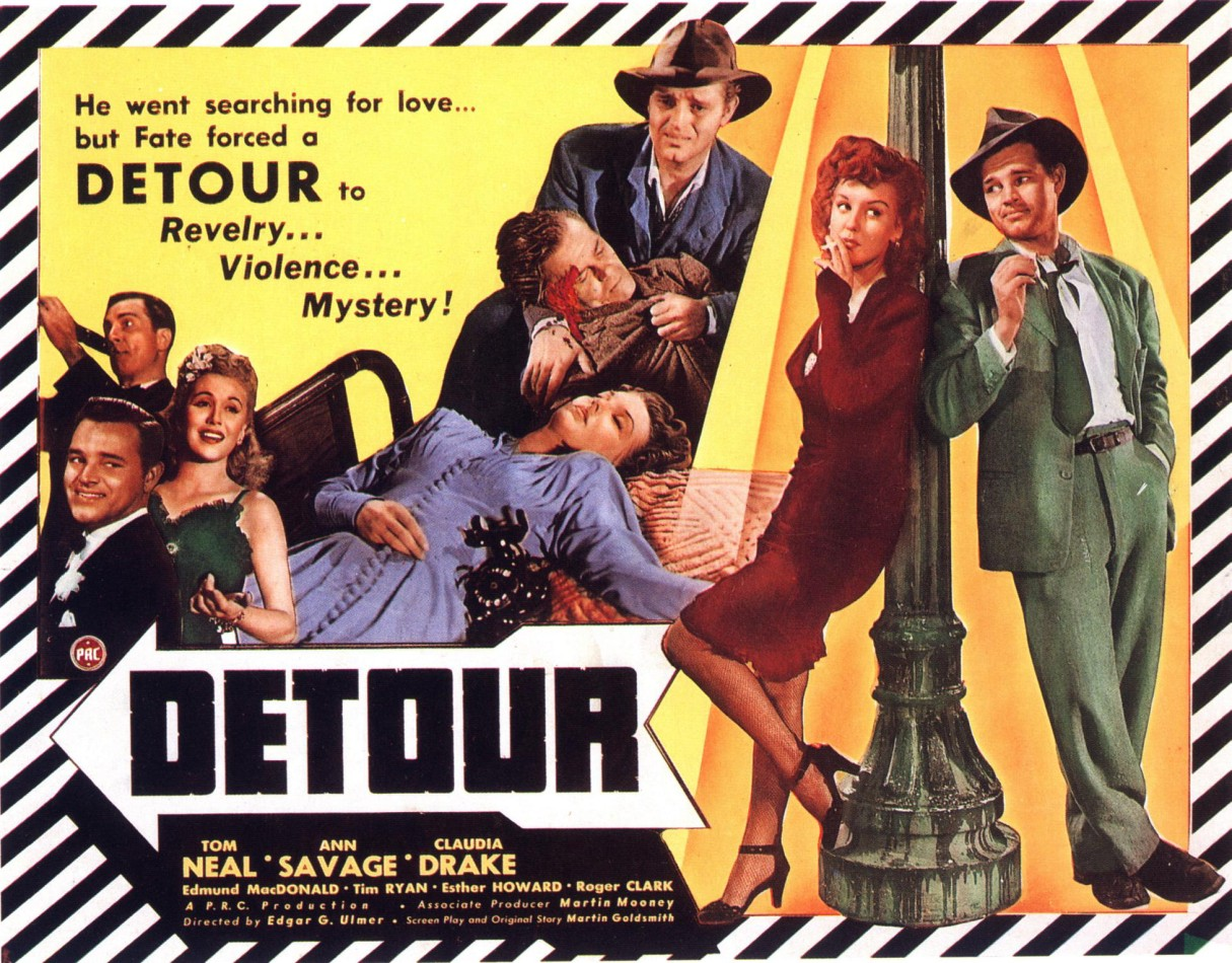 Vintage 1945 Film Poster of Detour Starring Tom Neal and Ann Savage