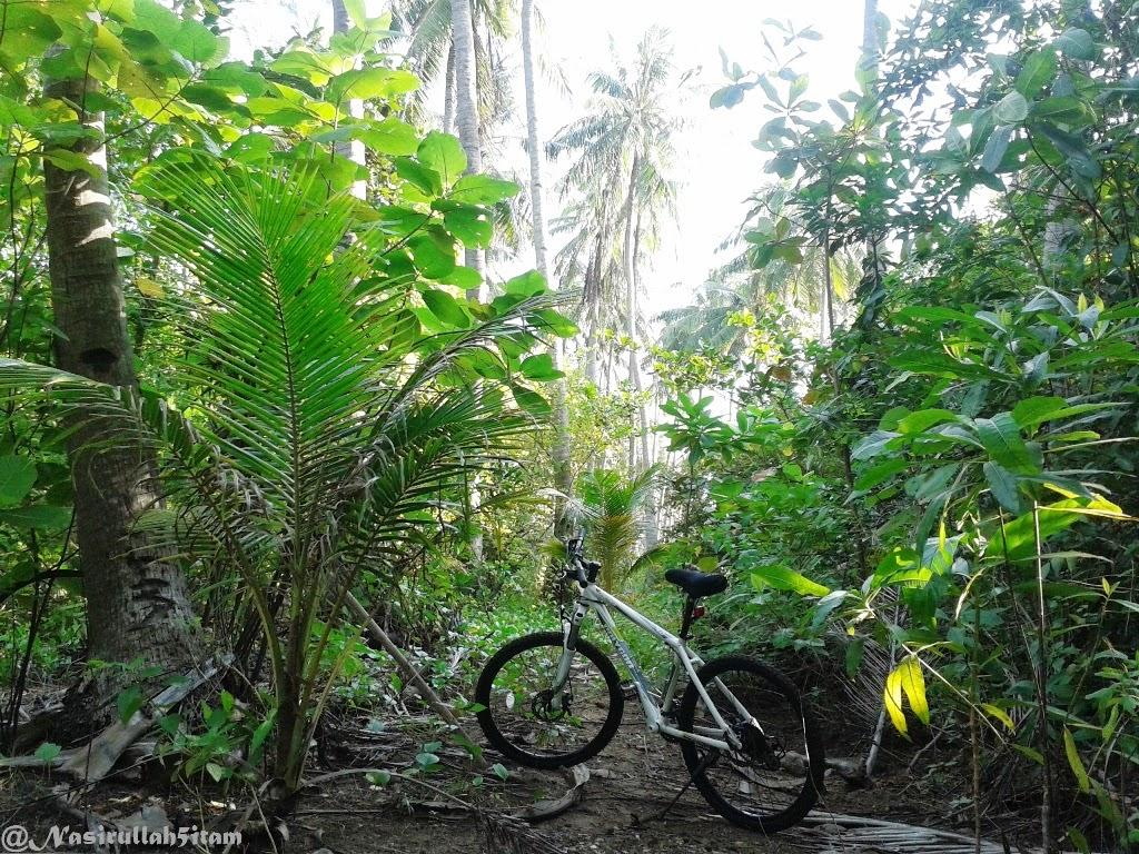 Bersepeda melewati jalan setapak