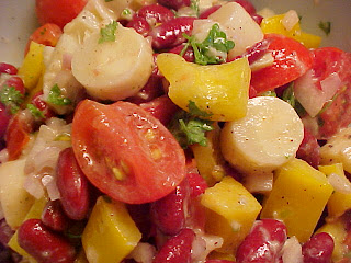 Salade de haricots rouges Viviane,vinaigrette crmeuse  la moutarde de Dijon